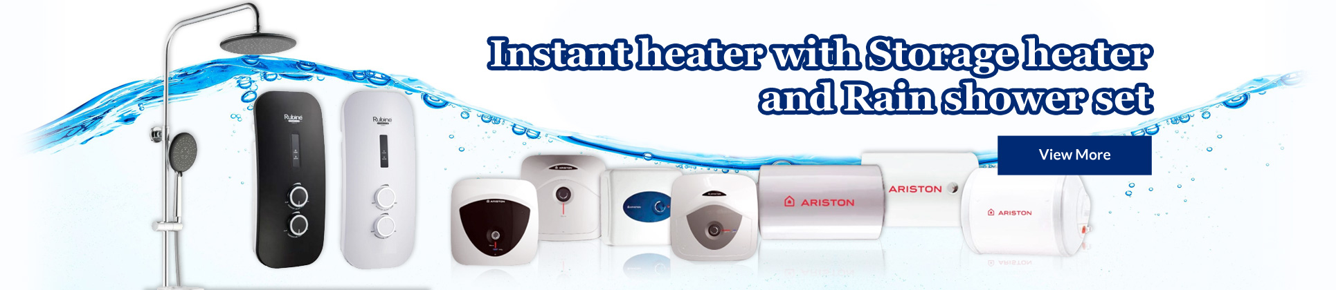 Instant heater with Storage heater and Rain shower set