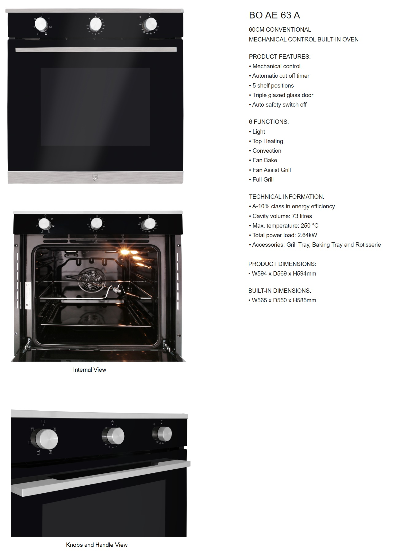 Ef Built In Oven Bo Ae 63a Sg Appliances