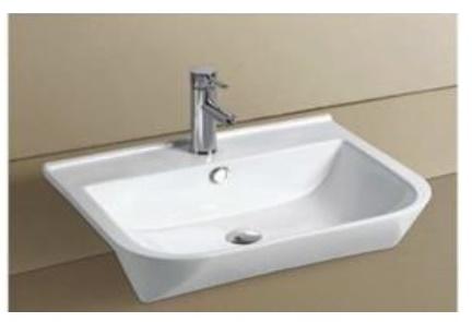 Semi Recessed Ceramic Wash Basin Z 8030