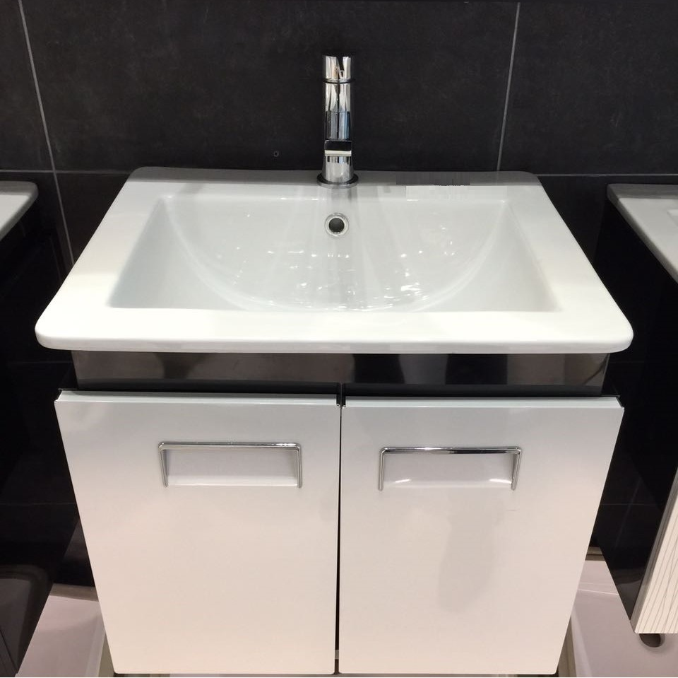 2 doors stainless steel cabinet with ceramic basin