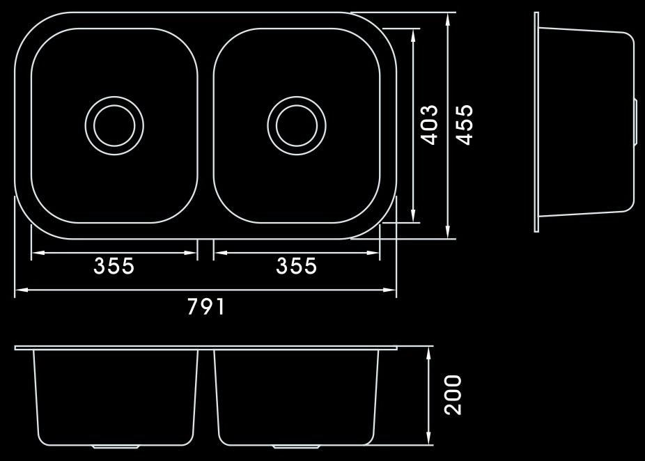 Rubine Stainless Steel Round Sink 2 Bowl Undermount