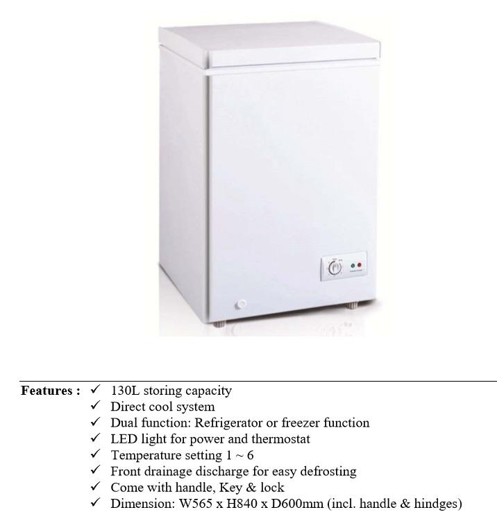 TECNO Chest Freezer TCF-1480 - 130 Litres Refrigerator
